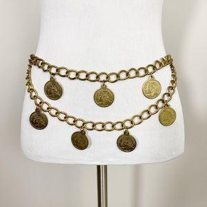 VINTAGE Coin Chain Belt Gold Tone Festival Boho